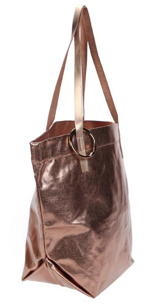 copper metallic shopper with round bag hanger