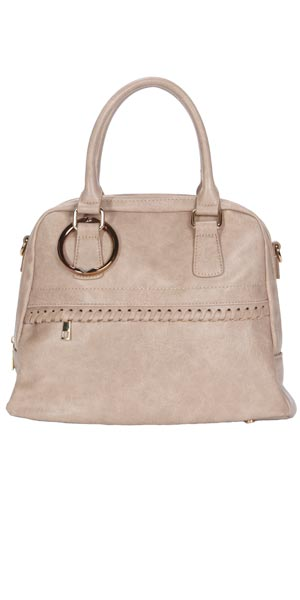 tan double handle bag with cruise ship accessory