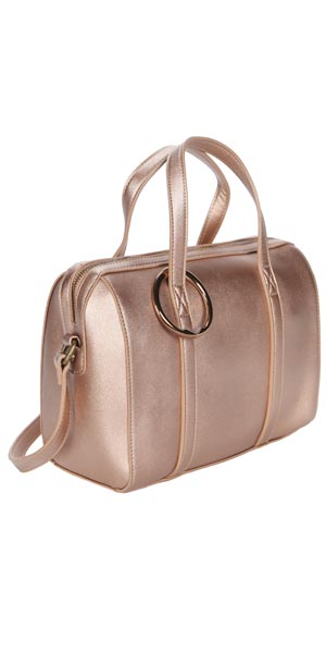 metallic rose gold bag with Clipa2 travel accessory