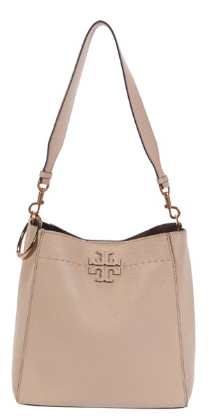 beige leather tote with copper Clipa2 bag hanger travel gift