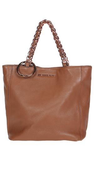 brown leather chain handbag with rose gold travel accessory