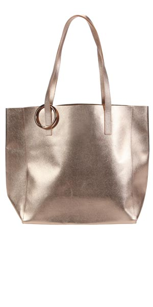 gold metallic tote with must-have accessory