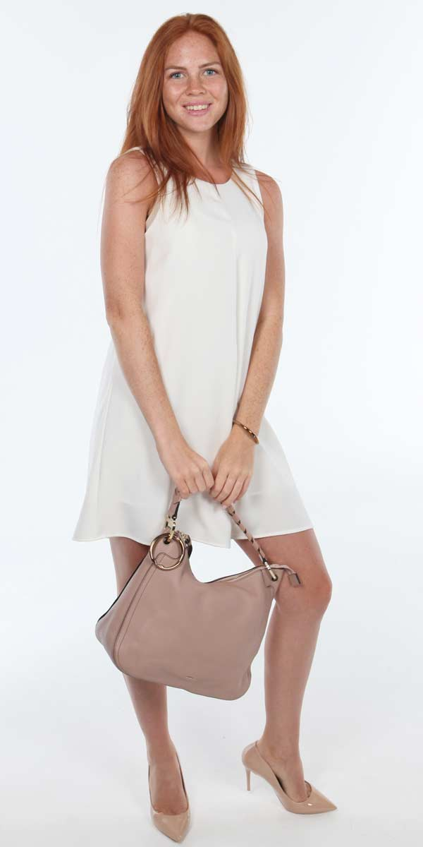 beige hobo with bag hanger
