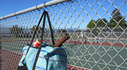 Clipa purse hanger clip works great on chain link fences to hang your tennis bag