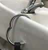 Clipa purse hook allows you to hang your purse from the edge of a sink